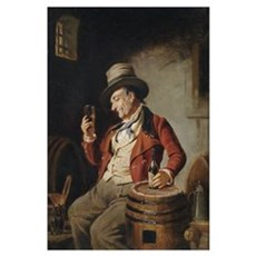 Old Man Drinking Beer Painting Framed Print