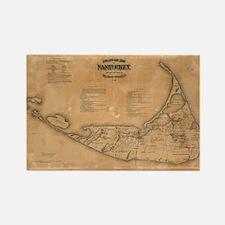 Vintage Map of Nantucket (1869) Rectangle Magnet