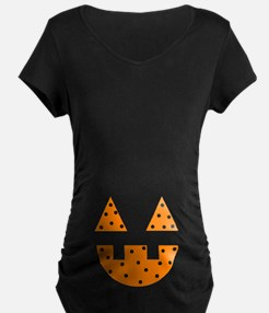 Halloween Pumpkin Face Maternity T-Shirt