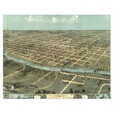 Vintage Pictorial Map of Iowa City (1868) Poster