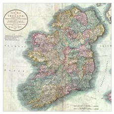 Vintage Map of Ireland (1799) Canvas Art