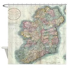 Vintage Map of Ireland (1799) Shower Curtain