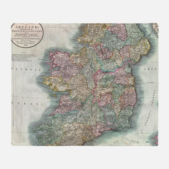 Vintage Map of Ireland (1799) Throw Blanket