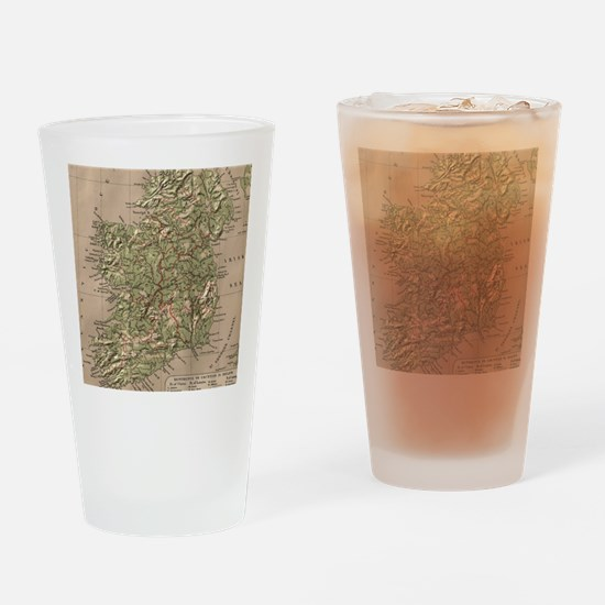 Vintage Physical Map of Ireland (18 Drinking Glass