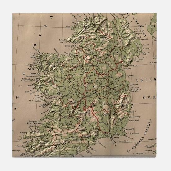 Vintage Physical Map of Ireland (1880 Tile Coaster