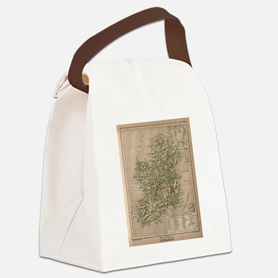 Vintage Physical Map of Ireland ( Canvas Lunch Bag