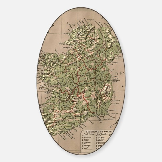 Vintage Physical Map of Ireland (18 Sticker (Oval)