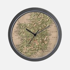 Vintage Physical Map of Ireland (1880) Wall Clock