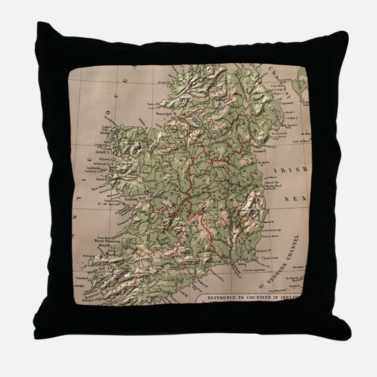 Vintage Physical Map of Ireland (1880 Throw Pillow