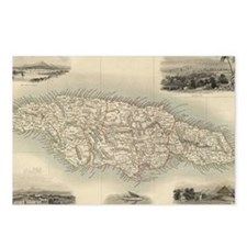 Vintage Map of Jamaica (1 Postcards (Package of 8)