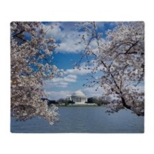 Thomas Jefferson Memorial with Cherr Throw Blanket