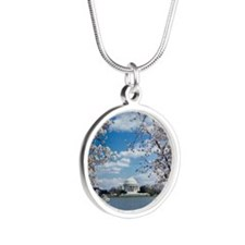Thomas Jefferson Memorial wi Silver Round Necklace