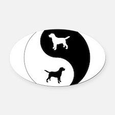 Yin Yang Lab Oval Car Magnet