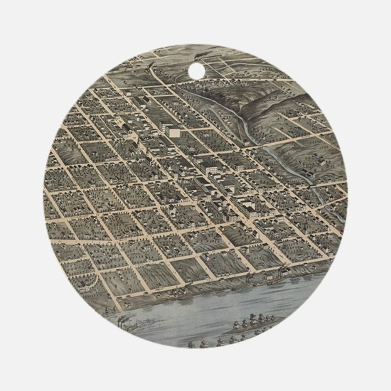Vintage Map of Knoxville TN (1871) Round Ornament