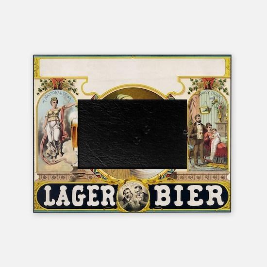 Vintage Lager Beer Advertisement Picture Frame