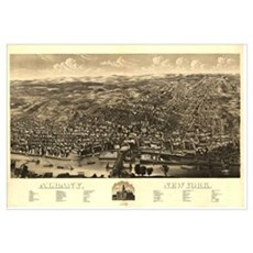 Vintage Pictorial Map of Albany New York (1879) Poster