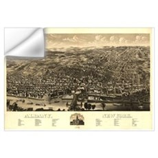 Vintage Pictorial Map of Albany New York (1879) Wall Decal