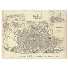 Vintage Map of Liverpool England (1836) Poster