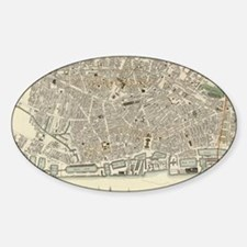Vintage Map of Liverpool England (1 Sticker (Oval)
