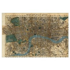 Vintage Map of London England (1860) Canvas Art
