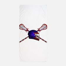 Lacrosse Helmet with sticks Beach Towel