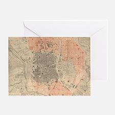 Vintage Map of Madrid Spain (1861) Greeting Card