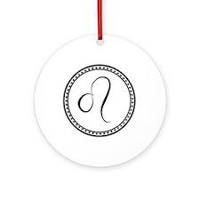 Leo Hand Drawn Black & White Circ Ornament (Round)