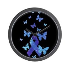 Blue Awareness Ribbon Wall Clock