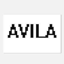 Avila digital retro desig Postcards (Package of 8)