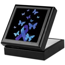 Blue Awareness Ribbon Keepsake Box