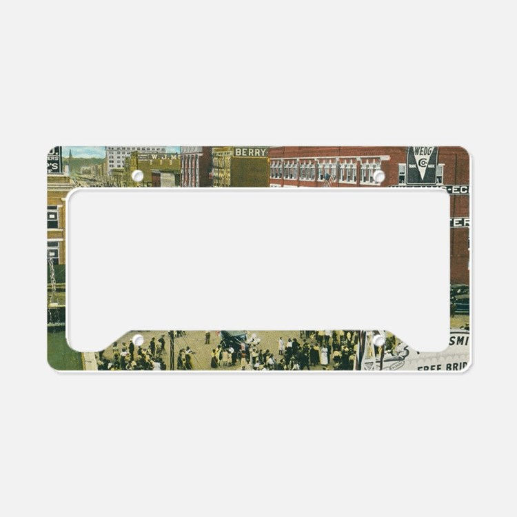 Vintage Street Scene License Plate Holder