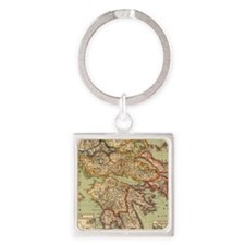 Vintage Map of Greece (1903) Square Keychain