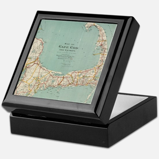 Vintage Map of Cape Cod (1917) Keepsake Box