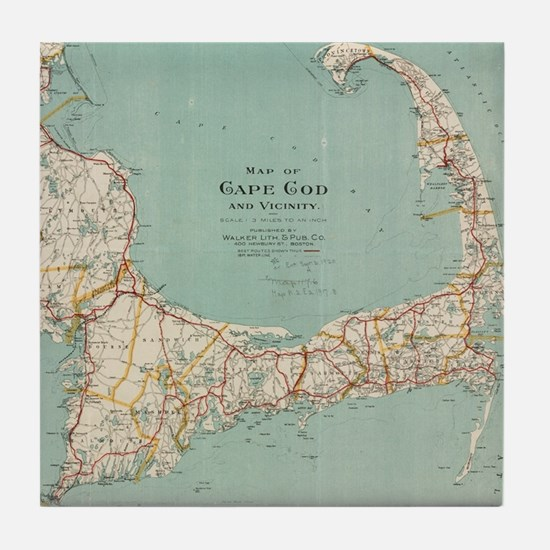 Vintage Map of Cape Cod (1917) Tile Coaster