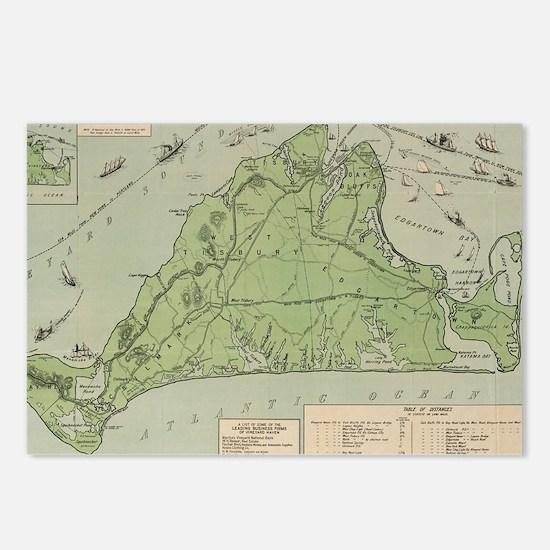 Vintage Map of Marthas Vi Postcards (Package of 8)