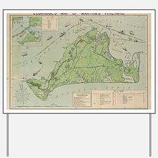 Vintage Map of Marthas Vineyard (1913) Yard Sign