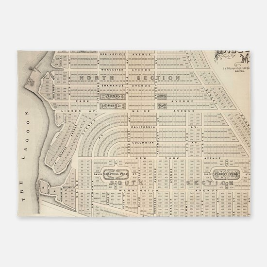 Vintage Map of Marthas Vineyard (18 5'x7'Area Rug