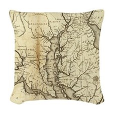 Vintage Map of Maryland (1796) Woven Throw Pillow