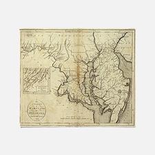 Vintage Map of Maryland (1796) Throw Blanket