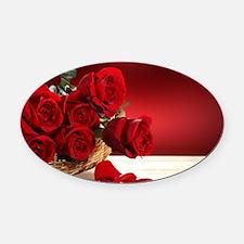 Superb Red Roses Oval Car Magnet