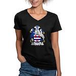 Woodburgh Family Crest Women's V-Neck Dark T-Shirt