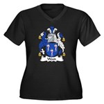 Wood Family Crest Women's Plus Size V-Neck Dark T-