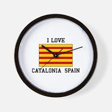 I Love Catalonia Spain Wall Clock