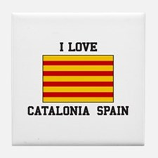 I Love Catalonia Spain Tile Coaster