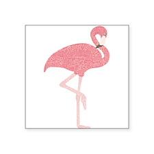 "Cute Flamingo Square Sticker 3"" x 3"""