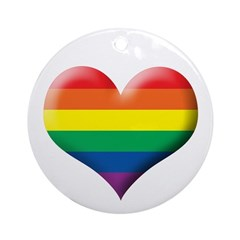 Gay Rainbow Heart Round Ornament