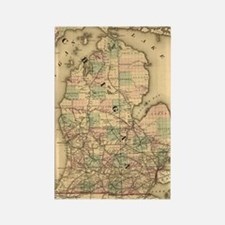 Vintage Map of The Michigan Railr Rectangle Magnet