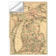 Vintage Map of The Michigan Railroads (1876) Wall Decal
