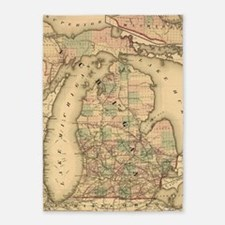 Vintage Map of The Michigan Railroa 5'x7'Area Rug