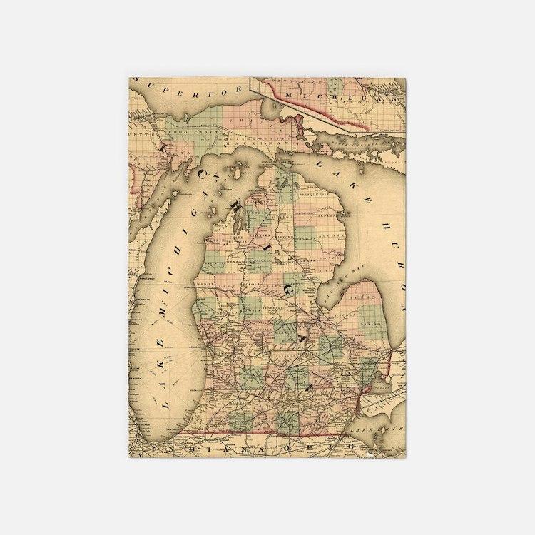Vintage Map of The Michigan Railroa 5'x7'Area Rug
